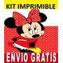 Kit Imprimible Minnie Mouse Diseña Invitaciones Y Tarjetas