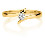 Anillo De Compromiso Oro 18 K Diamante 0.08 Cts Certificado
