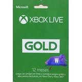 Xbox Live Gold 12 Meses Codigo Digital Microsoft One S One X