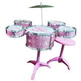 Bateria Musical De Juguete Para Niñas Rosada 5 Tambores