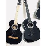 Guitarra Acústica Negra Para Adulto+forro+método+personaliza