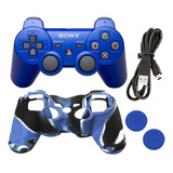 Control Dualshock + Forro + Grips + Cable Sony Ps3 Azul