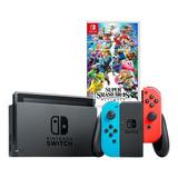Nintendo Switch Neon 32gb Estuche Super Smash Bros Ultimate