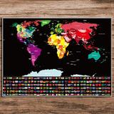 Mapamundi Para Raspar, Scrath Map, Poster(82*59cm) Bandera