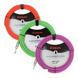 Cable De Guitarra Profesional Kirlin 6 Metros Neon