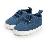 Zapatos Niño Bebe Suela Antideslizante Rayas Cuadros Azul