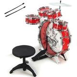 Set Batería Musical 5 Tambores Niños Azul Percusión 28832