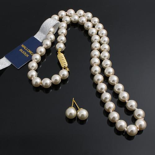 8a67e5ecb6f9 Collares Mujer + Aretes Perlas Mallorca Chapado En Oro