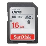 Sandisk Ultra, Tarjeta Sdhc 16gb, Uhs-i, Clase 10, 80mb/s