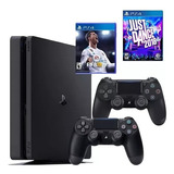 Playstation 4 Slim + Fifa 18+ Just Dance 2018 + 2 Controles