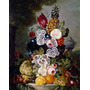 Poster (46 X 61 Cm) Still Life With Fruit And Flowers On