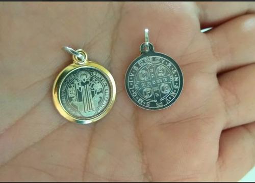 eb2007c8d89 Medalla San Benito Plata Maciza 925 Con Oro + Cadena 45cms