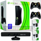 Xbox 360 Slim 5.0 Disco 250 Gb  50j. Kinect 2 Controles +