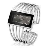 Reloj Dama Pulsera Metalico De Diseño Plateado Cuadrado