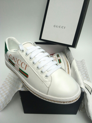 f0fa7d492 Zapatos Tenis, Sneakers Gucci Ace Cristales