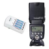 Combo Flash Yongnuo Yn560 Iii + Cargador Con 4 Pilas Bateria