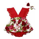 Body Elegante Bebé Niña Mono Mameluco Flores Rojo Fiesta