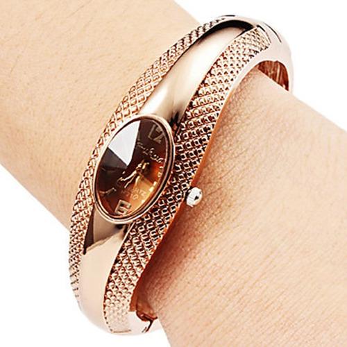 cfac7b4814f0 Reloj Dama Metalico Pulsera De Diseño Plateado Dorado