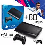 Playstation 3 500gb Rf+ 80 Juegos + 2 Controles + Fifa 19