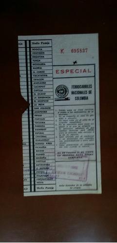 Tiquete Tren Ferrocarriles Nacionales De Colombia De 1965
