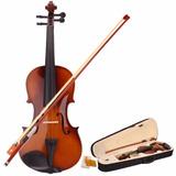 Nuevo 4/4 Natural Acústica Violín Y Caso & Arco Y Colofonia