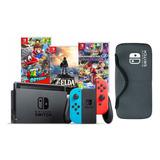 Nintendo Switch + Zelda + M Kart 8 + Mario Odyssey. Nueva