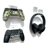Soporte Pared Para Diadema Ps4  Xbox One Más 2 Sop Controles