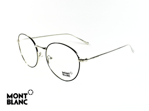 4d27cd5ca2 Montura Óptica Montblanc® 53°19mm Silver Black Opt0012 Marco