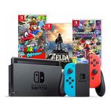 Nintendo Switch Neon + Mario Odyssey + Zelda + Mario Kart.