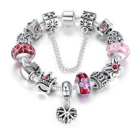 Pulsera Para Mujer Tipo Pandora Charm Queen Corazón Flores