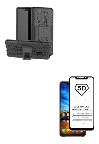 Kit Armadura Negro + Vidrio Neg 5d Xiaomi Redmi Pocophone F1