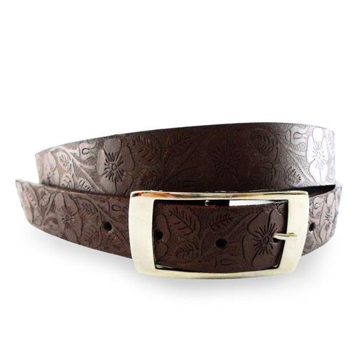 Cinturón Correa Cuero Mujer Floral Marron Kemeth Leather cef02ba24d35