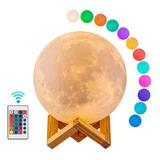 Lampara Luna Grande 3d Colores Recargable + Base Madera