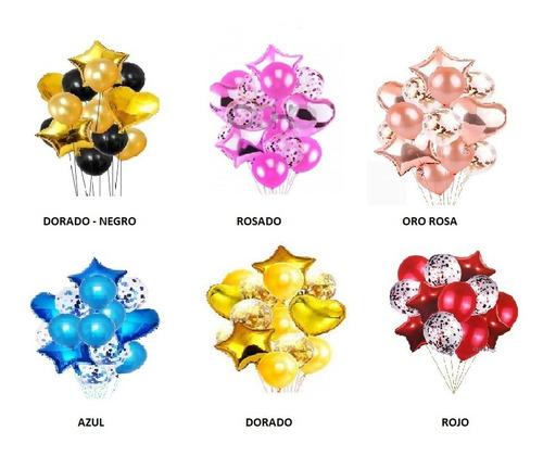 Bouquet De Globos Arreglo De Globos Metalizados Látex X 14