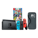 Nintendo Switch Neon + Super Smash Bros Ultimate + Estuche.