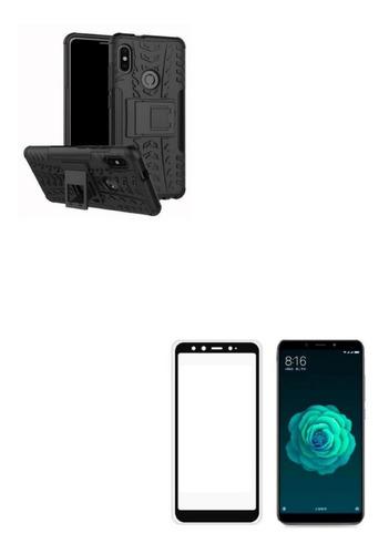 Kit Estuche Armadura Negro + Vidrio 5d Xiaomi Redmi Mi A2