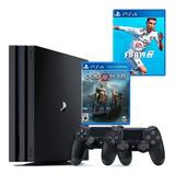 Playstation 4 Pro 4k 1tb  2 Controles + God Of War + Fifa 19