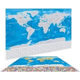 Mapamundi Para Raspar Scratch Mapa + Kit Para Raspar Azul