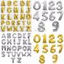 Globos Metalizados De Letras Dorados Plateados 40 Cm Aprox