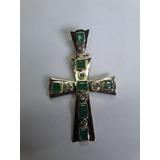 Antiguo Cruz De Oro Con Esmeraldas Y Diamantes 10 Gramos