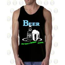 Camisilla Hombre Esqueleto Algodon Diseño : Cerveza - Beer