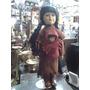 Muñeca Antigua De Colección India Gamuza Y Porcelana