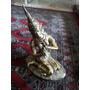 Diosa De La India Bronce Dorada Tocando Flauta Base Marmol