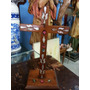 Cruz Antigua De Mesa En Madera Con Incrustaciones En Nacar