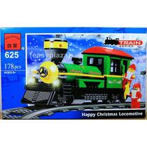 Juguete Para Armar Tipo Lego Locomotora De Tren Navideño