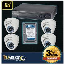 Kit Video Vigilancia Cctv Dvr 4 Canales+disco Duro Truvision