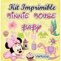 Kit Imprimible Minnie Mouse Bebe Baby Invitaciones Fiesta Co