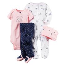 Lindo Set Carters 4 Piezas (pijama, Bodie, Pantalon Y Gorro)