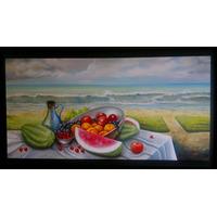 Cuadro Triptico Decoracion Pintura Moderna Bodegon500