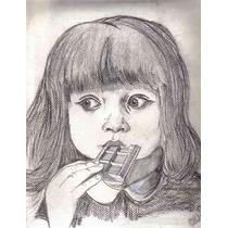 Su Retrato Al Carboncillo Decoracion Cuarto Infantil Arte